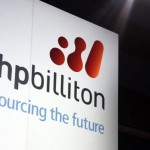 File photo of a promotional sign adorning a stage at a BHP Billiton function in central Sydney